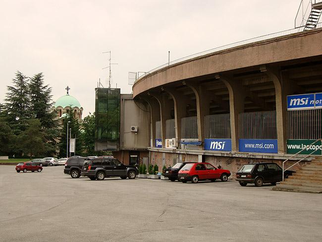 """Стадион """"Партизан"""". Рядом с главным входом"""