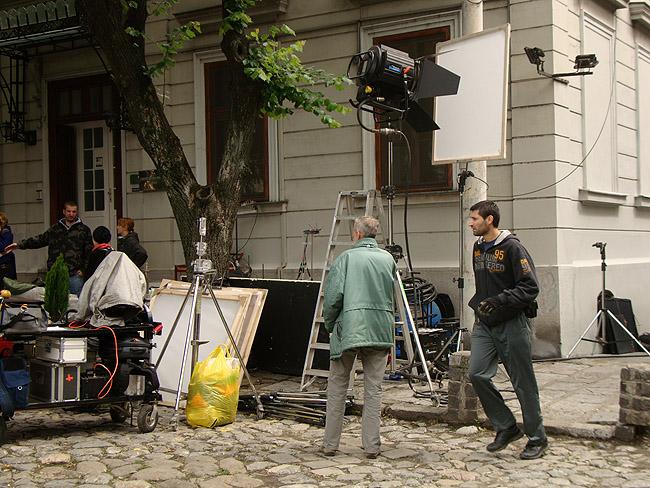 Съемка фильма в районе Косанчичева венаца. На съемочной площадке