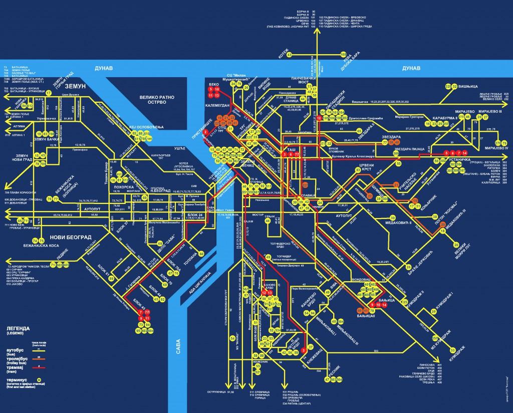 Схема автобусных линий Белграда