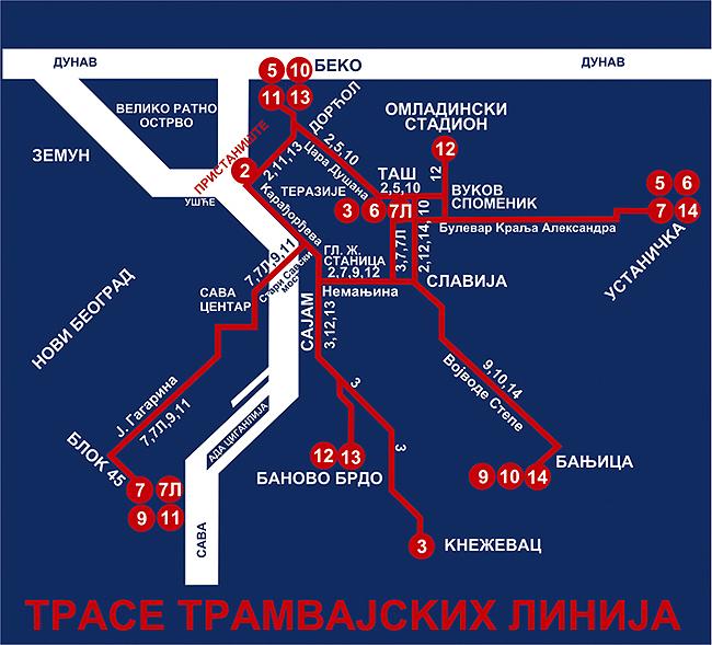 Схема трамвайных линий Белграда