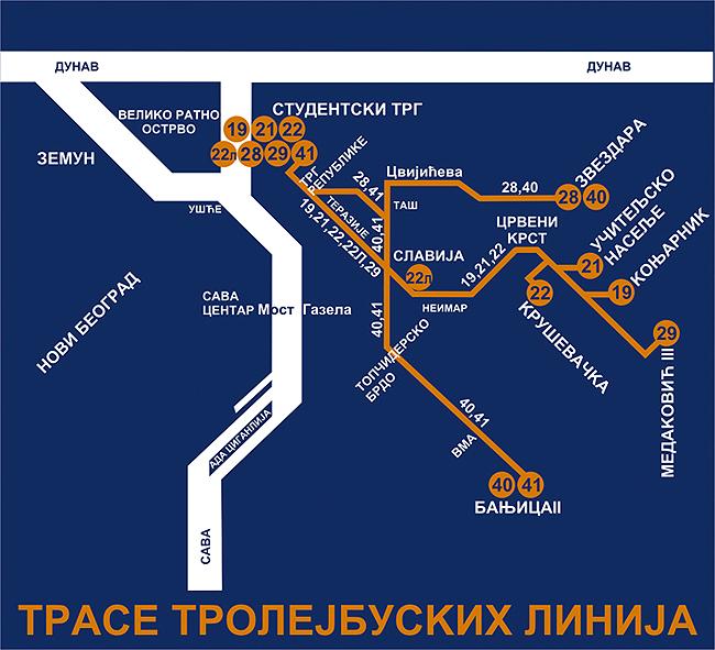 Схема троллейбусных линий Белграда
