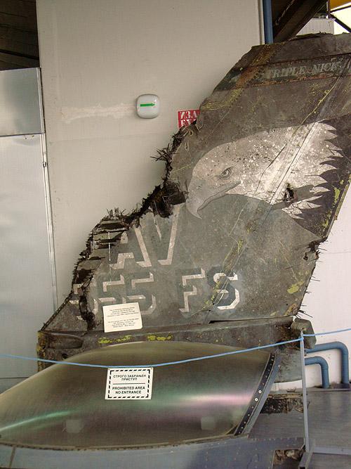 Музей авиации в Белграде. Останки F-16, сбитого югославами в 1999 году